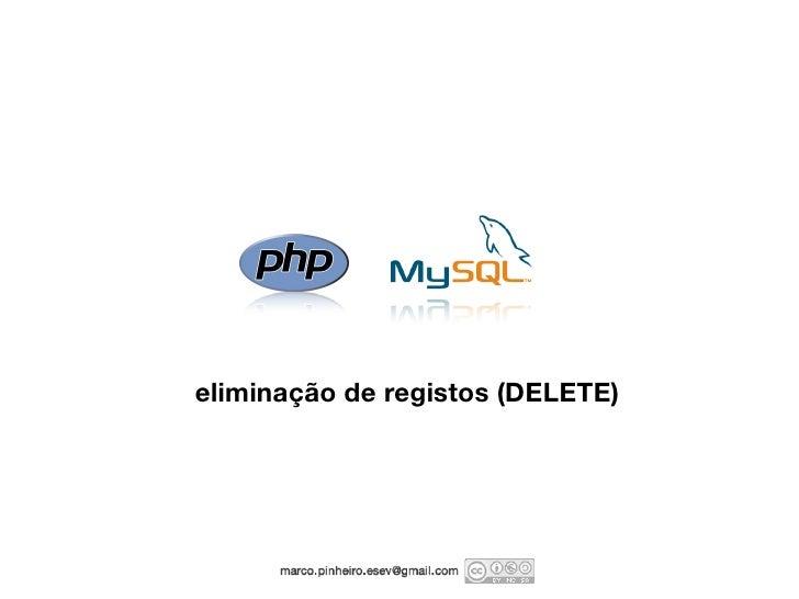 eliminação de registos (DELETE)