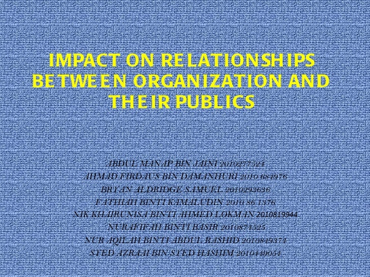 IMPACT ON RELATIONSHIPS BETWEEN ORGANIZATION AND THEIR PUBLICS ABDUL MANAP BIN JAINI 2010277524 AHMAD FIRDAUS BIN DAMANHUR...