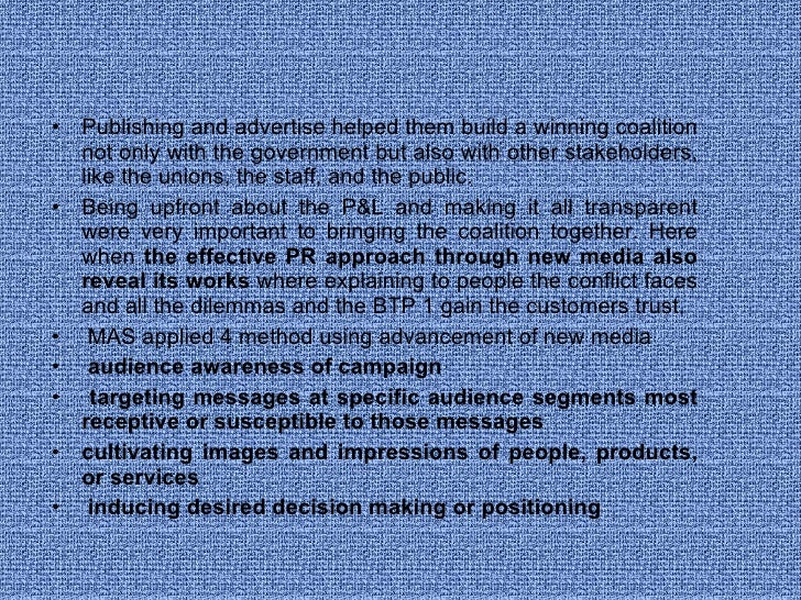 <ul><li>Publishing and advertise helped them build a winning coalition not only with the government but also with other st...