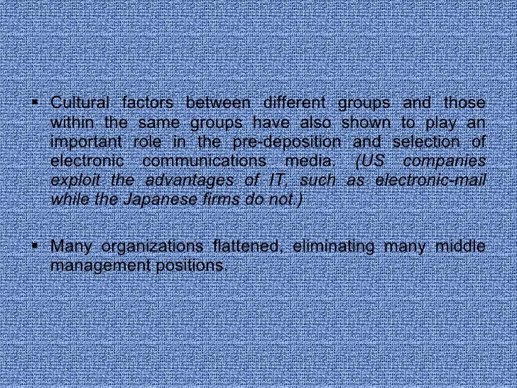 <ul><li>Cultural factors between different groups and those within the same groups have also shown to play an important ro...