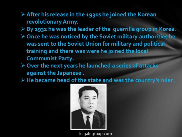  After his release in the 1930s he joined the Korean  revolutionary Army. By 1932 he was the leader of the guerrilla gro...