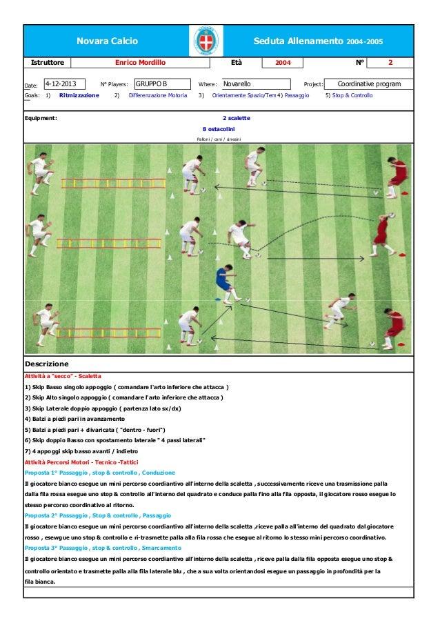 Novara Calcio Istruttore  Date:  4-12-2013  Goals:  1)  Seduta Allenamento 2004-2005  Enrico Mordillo GRUPPO B  N° Players...