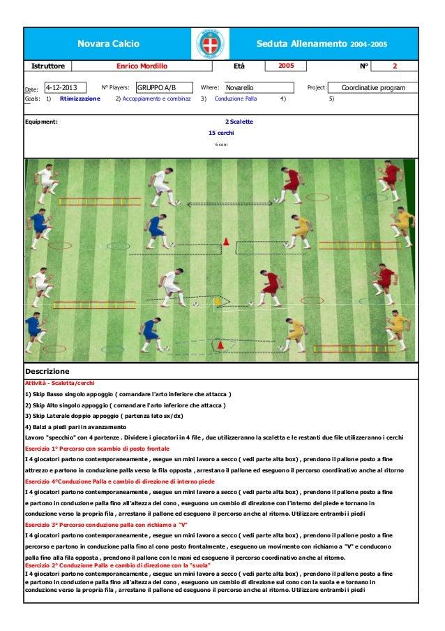 Novara Calcio Istruttore  Date:  4-12-2013  Goals:  1)  Rtimizzazione  Seduta Allenamento 2004-2005  Enrico Mordillo N° Pl...