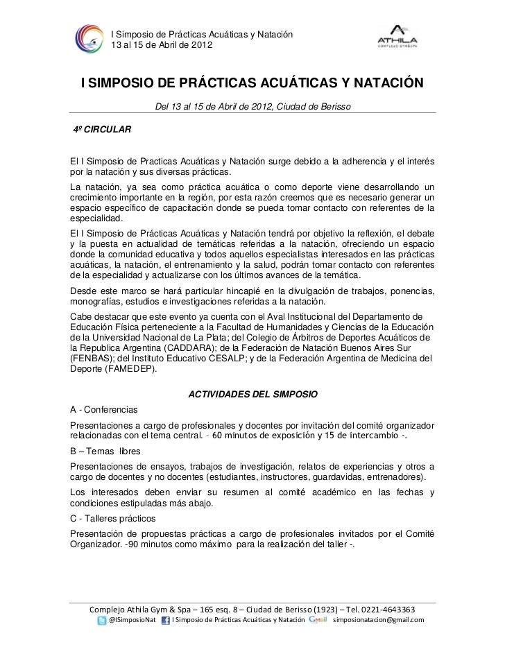 I Simposio de Prácticas Acuáticas y Natación          13 al 15 de Abril de 2012  I SIMPOSIO DE PRÁCTICAS ACUÁTICAS Y NATAC...