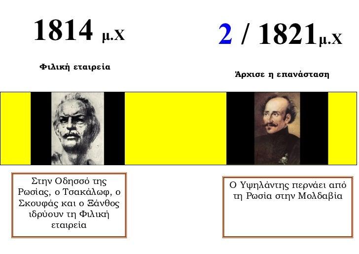 1814 μ.Χ              2 / 1821μ.Χ    Φιλική εταιρεία                          Άρχισε η επανάσταση   Στην Οδησσό της       ...