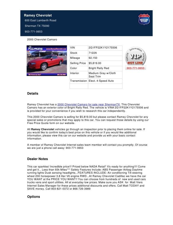 Used 2000 Chevrolet Camaro For Sale In Sherman TX