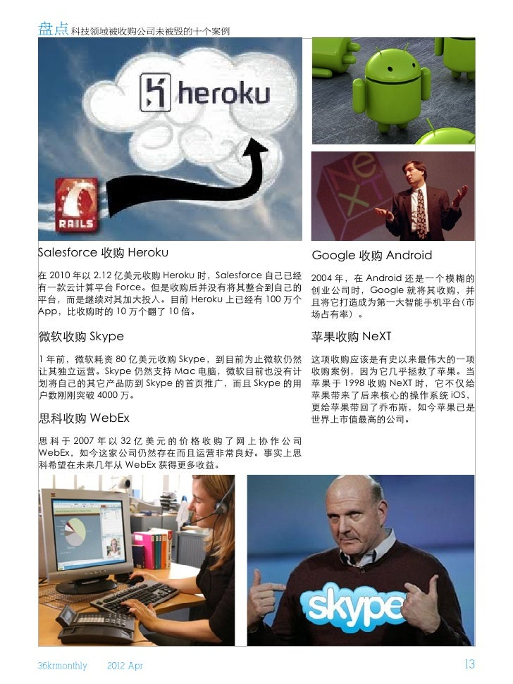 盘点 科技领域被收购公司未被毁的十个案例Salesforce 收购 Heroku                              Google 收购 Android在 2010 年以 2.12 亿美元收购 Heroku 时,Sales...