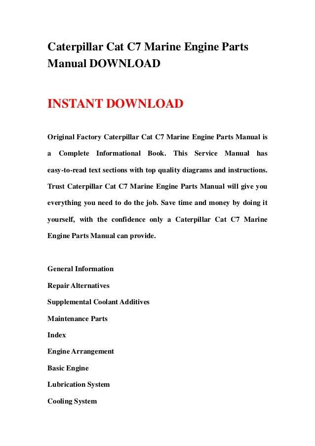 Caterpillar Cat C7 Marine Engine Parts Manual Download