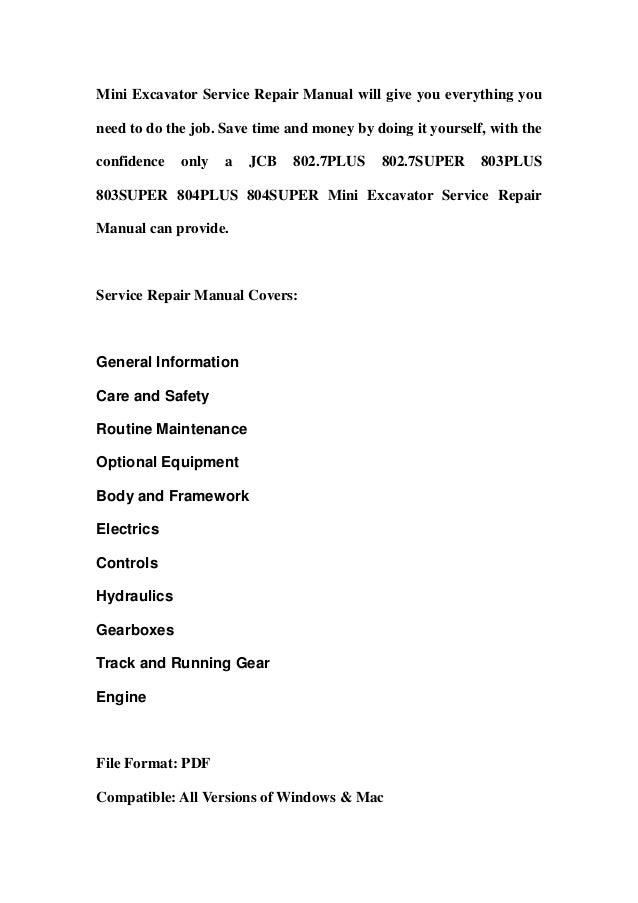 jcb 802 7plus 802 7super 803plus 803super 804plus 804super mini excav rh slideshare net Workshop Manuals Oilfield Well Testing Store Workshop Manual