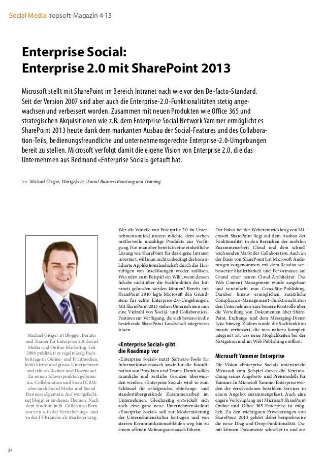 Social Media topsoft-Magazin 4-13  Enterprise Social: Enterprise 2.0 mit SharePoint 2013 Microsoft stellt mit SharePoint i...