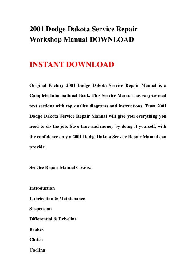 2001 dodge dakota service repair workshop manual download rh slideshare net 2001 dodge dakota service manual free download 2000 dodge dakota service manual pdf