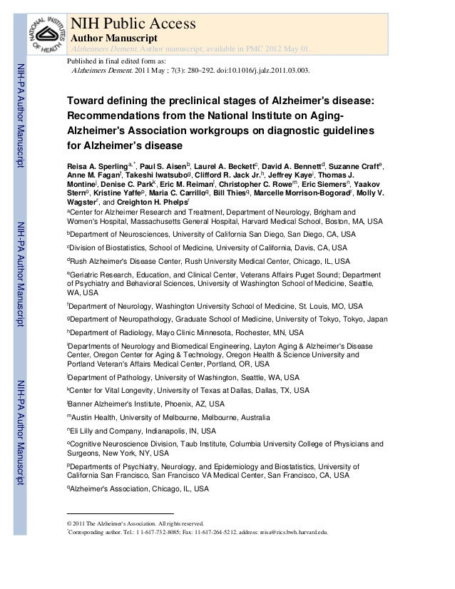 NIH Public Access                            Author Manuscript                            Alzheimers Dement. Author manusc...