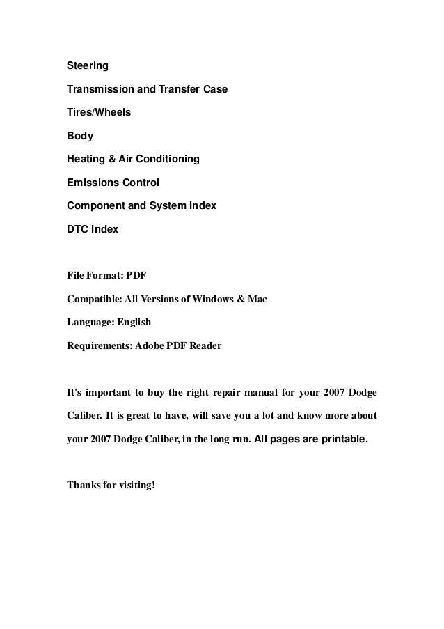 2007 dodge caliber service repair manual download sciox Gallery