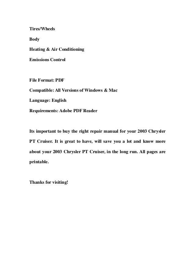 2003 chrysler pt cruiser service repair workshop manual. Black Bedroom Furniture Sets. Home Design Ideas