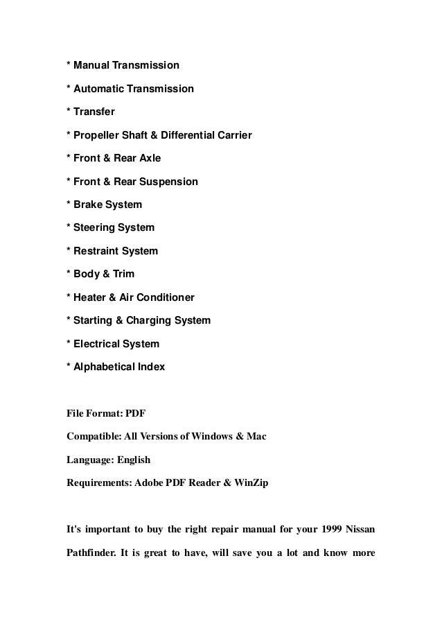 1999 nissan pathfinder service repair manual download rh slideshare net 1999 nissan pathfinder service manual pdf 1999 nissan pathfinder service manual free download
