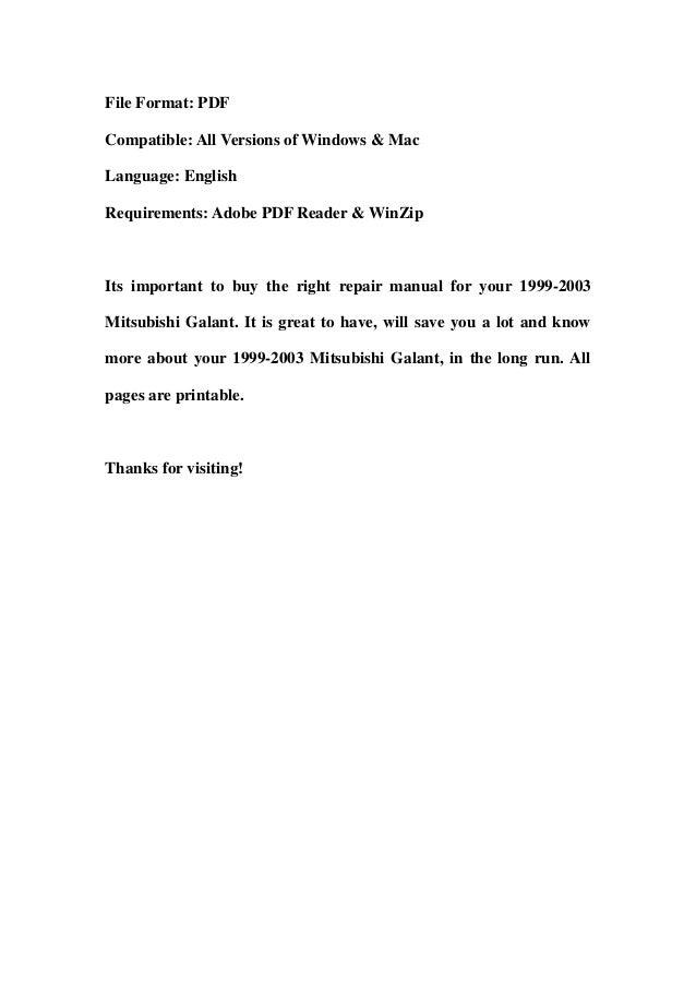 1999 2003 mitsubishi galant service repair workshop manual download rh slideshare net 2012 Mitsubishi Galant Black 2011 Mitsubishi Galant Service Manual