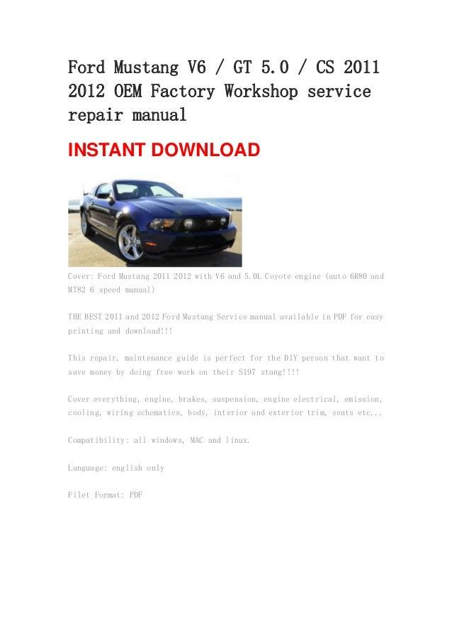 ford mustang v6 gt 5 0 cs 2011 2012 oem manual rh slideshare net 2004 Mustang GT 2011 mustang gt owners manual