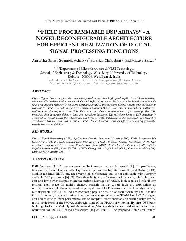 "Signal & Image Processing : An International Journal (SIPIJ) Vol.4, No.2, April 2013DOI : 10.5121/sipij.2013.4204 41""FIELD..."