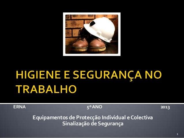 ERNA 5ºANO 2013 Equipamentos de Protecção Individual e Colectiva Sinalização de Segurança 1