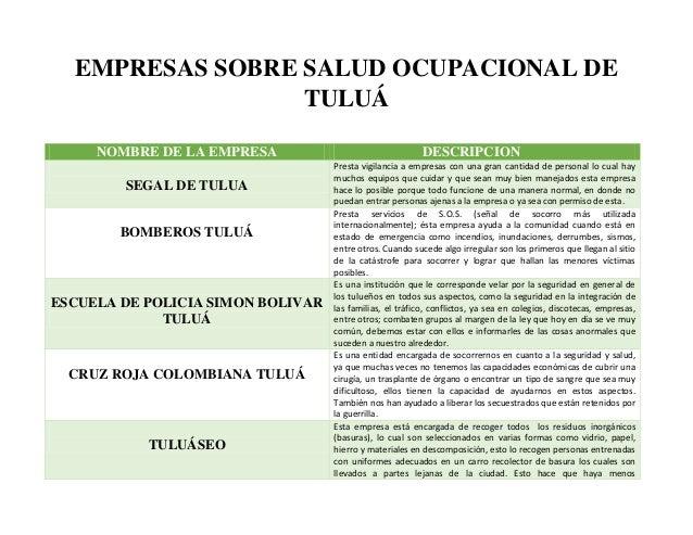 NOMBRE DE LA EMPRESA DESCRIPCION SEGAL DE TULUA Presta vigilancia a empresas con una gran cantidad de personal lo cual hay...