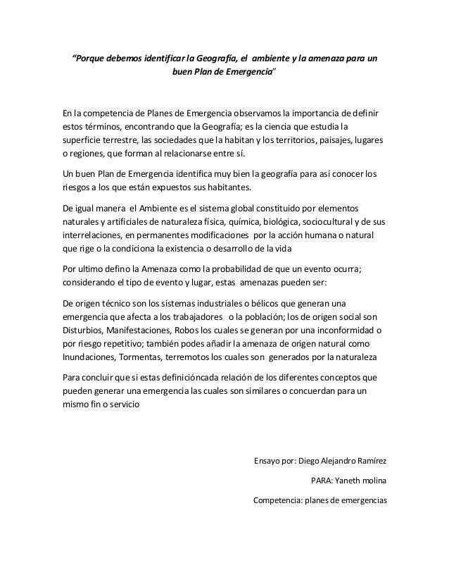 """""""Porque debemos identificar la Geografía, el ambiente y la amenaza para un buen Plan de Emergencia"""" En la competencia de P..."""