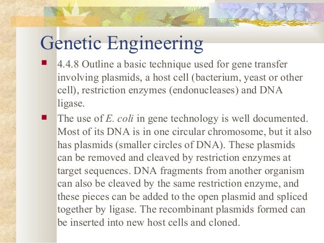 an outline of the basic technique used for gene transfer involving plasmids The sugar used in   a question and answer about gene therapy  recombinant dna  the nih guidelines for research involving recombinant dna.