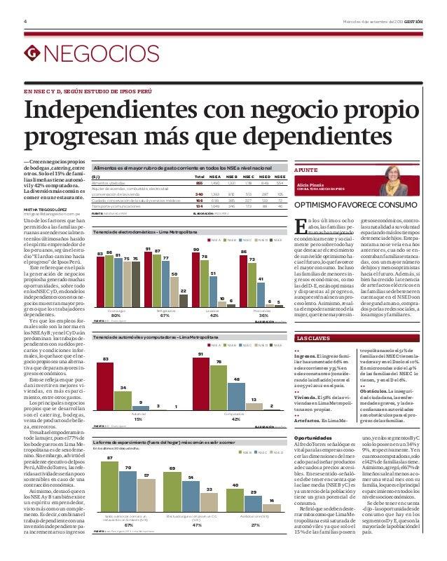 4 Miércoles 4 de setiembre del 2013 GESTIÓN NEGOCIOS Independientes con negocio propio progresan más que dependientes EN N...