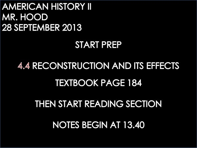 AHTWO: 4.4 RECONSTRUCTION AND ITS EFFECTS