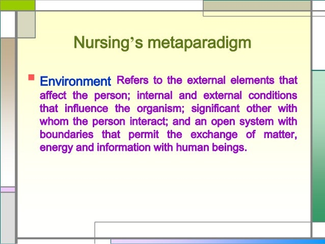 metaparadigms of nursing The metaparadigm of the nursing discipline consists of the person, environment, health, and nursing, and is considered to be the starting point for developing a conceptual framework chaos through the continuum of kidney dysfunction: a conceptual framework.