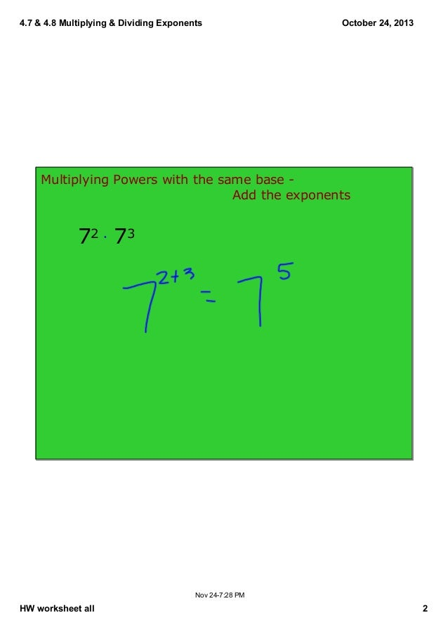 47 48 notes – Multiplying Powers with the Same Base Worksheet