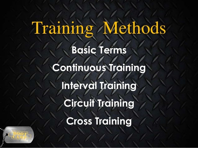 Training Methods Basic Terms Continuous Training Interval Training Circuit Training  Cross Training