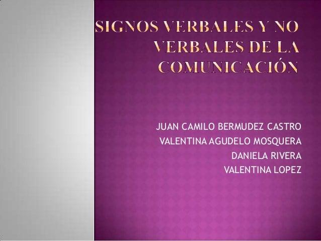 JUAN CAMILO BERMUDEZ CASTRO VALENTINA AGUDELO MOSQUERA DANIELA RIVERA VALENTINA LOPEZ