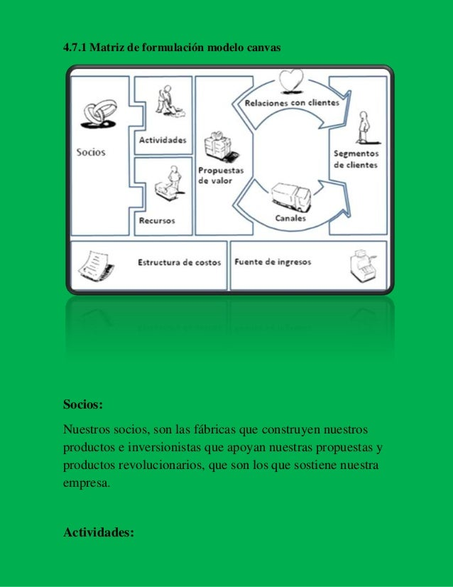 4.7.1 Matriz de formulación modelo canvas  Socios: Nuestros socios, son las fábricas que construyen nuestros productos e i...