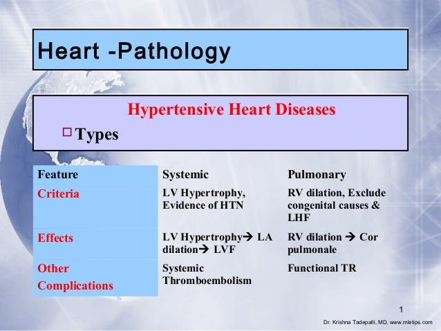 Heart -Pathology Hypertensive Heart Diseases Types Feature  Systemic  Pulmonary  Criteria  LV Hypertrophy, Evidence of HT...