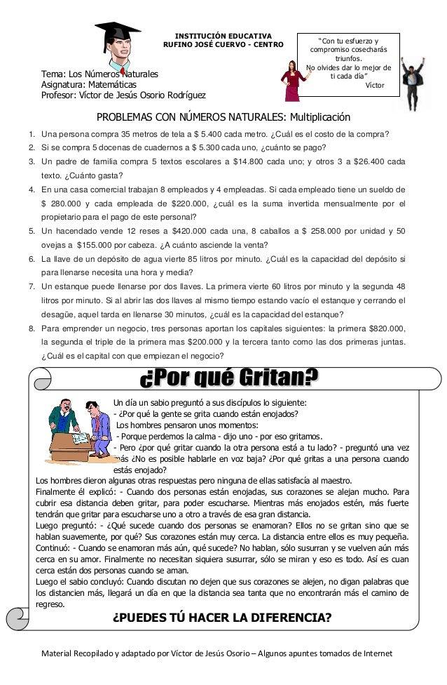 INSTITUCIÓN EDUCATIVA RUFINO JOSÉ CUERVO - CENTRO  Tema: Los Números Naturales Asignatura: Matemáticas Profesor: Víctor de...