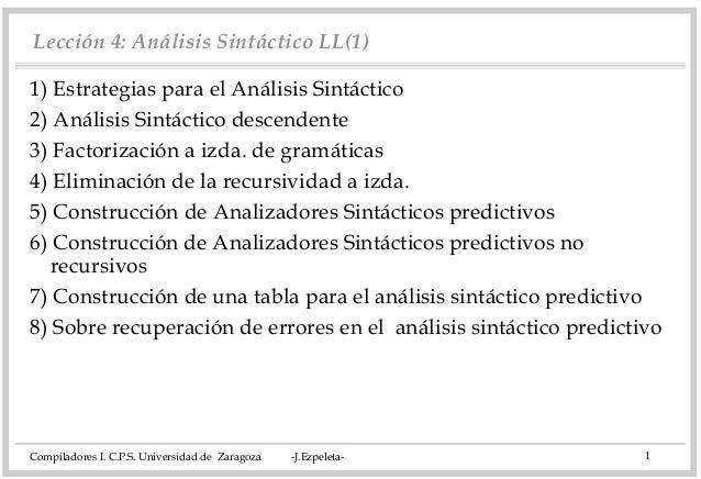 Lección 4: Análisis Sintáctico LL(1) 1) Estrategias para el Análisis Sintáctico 2) Análisis Sintáctico descendente 3) Fact...