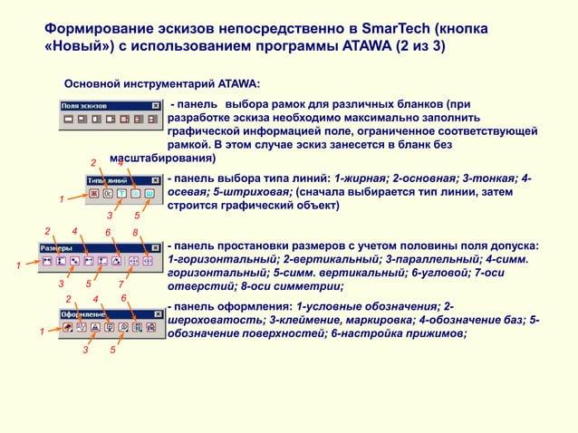 Формирование эскизов непосредственно в SmarTech (кнопка «Новый») с использованием программы ATAWA (2 из 3) Основной инстру...