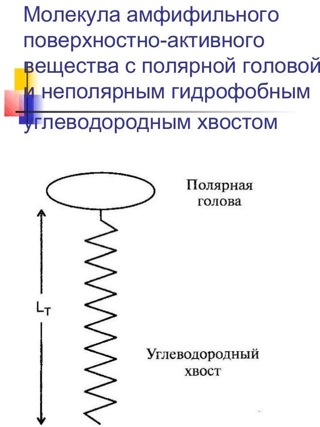 Молекула амфифильного поверхностно-активного вещества с полярной головой и неполярным гидрофобным углеводородным хвостом