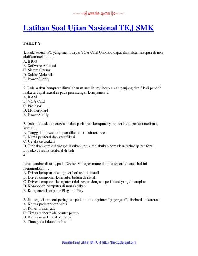 4 Prediksi Soal Un Tkj 2013 2014 Kunci Jawabannya Lengkap Www