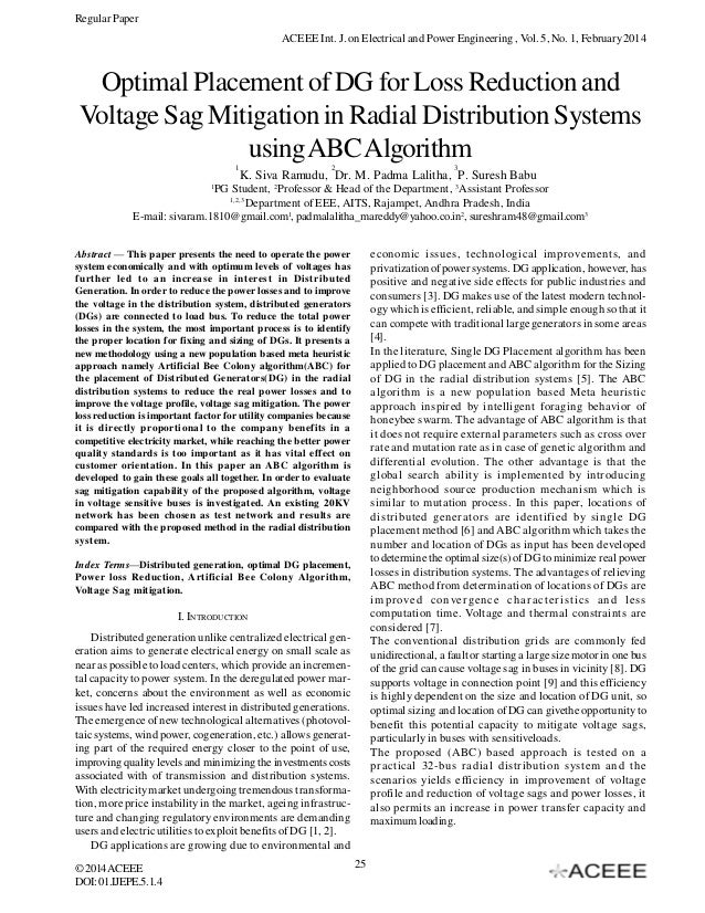 Regular Paper ACEEE Int. J. on Electrical and Power Engineering , Vol. 5, No. 1, February 2014  Optimal Placement of DG fo...