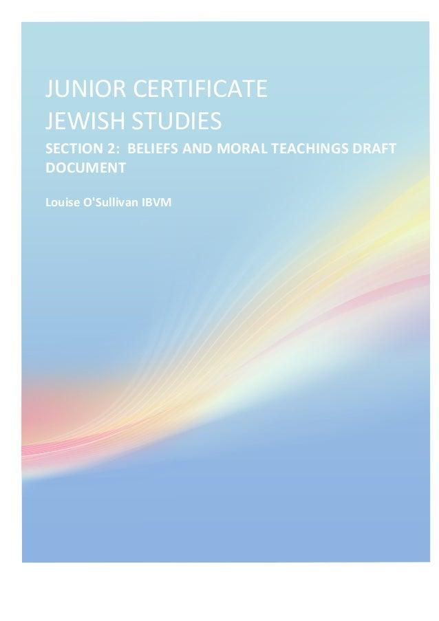 JUNIOR  CERTIFICATE                       JEWISH  STUDIES   SECTION  2:    BELIEFS  ...