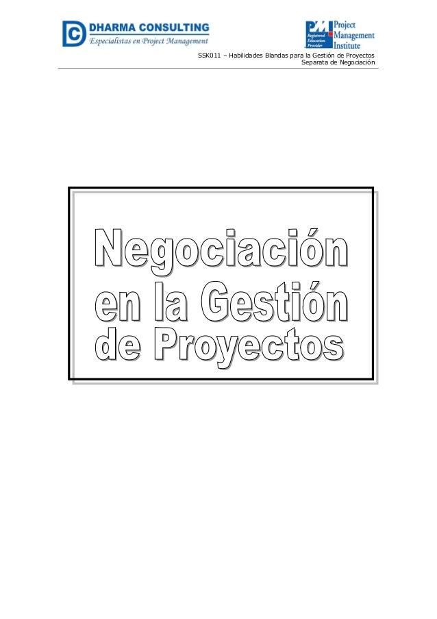 SSK011 – Habilidades Blandas para la Gestión de Proyectos Separata de Negociación