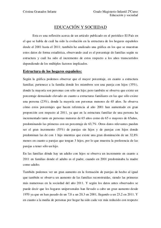 Cristina Granados Infante Grado Magisterio Infantil 2ºCurso Educación y sociedad EDUCACIÓN Y SOCIEDAD Esta es una reflexió...