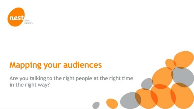 © NEST Corporation 2013 Mapping your audiences Are you talking to the right people at the right time in the right way?
