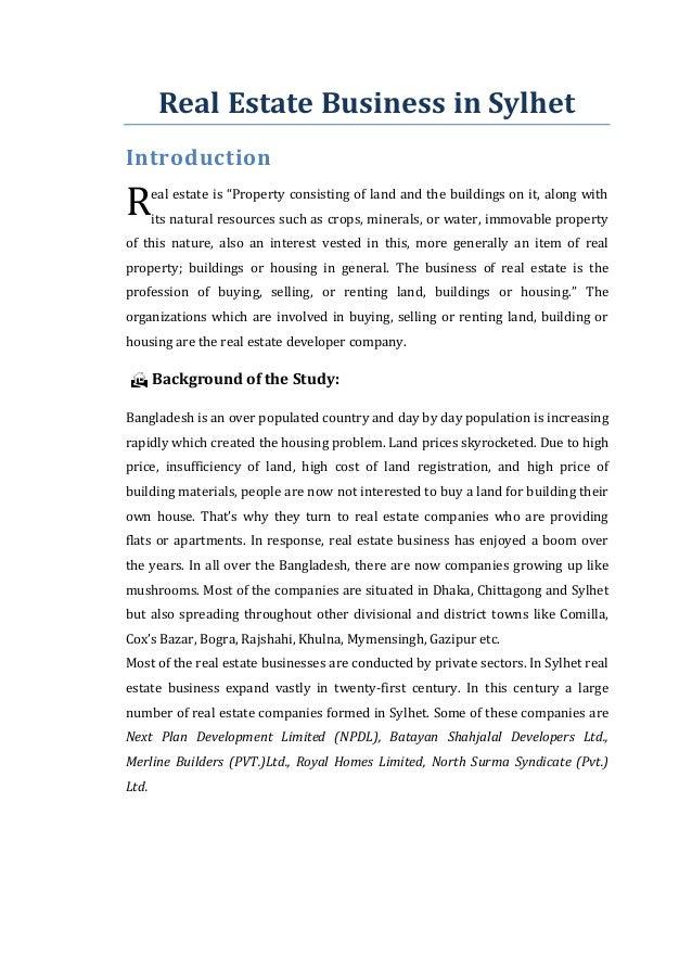 real estate business in bangladesh pdf