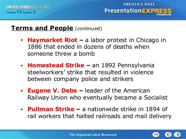 us history ch 4 section 3 notes rh slideshare net Labor Movement Martin Luther King Labor Movement in America