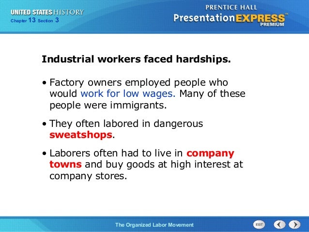 us history ch 4 section 3 notes rh slideshare net Labor Movement Cartoons Labor Movement in America
