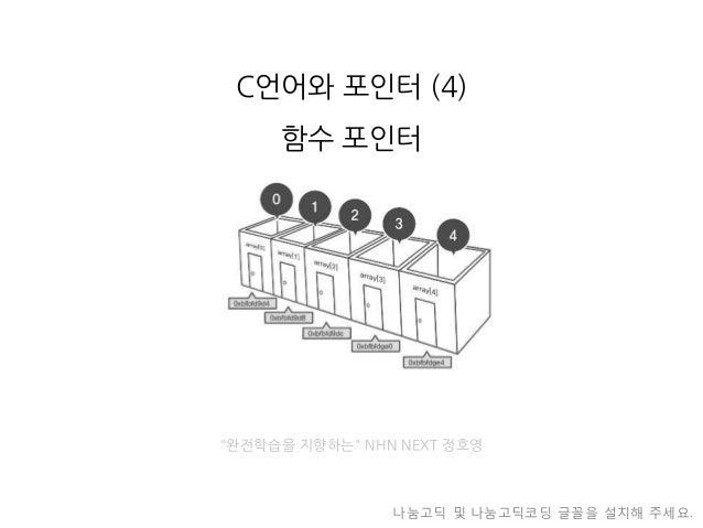 """C언어와포인터(4) 함수포인터  """"완전학습을지향하는""""NHN NEXT 정호영  나눔고딕및나눔고딕코딩글꼴을설치해주세요."""