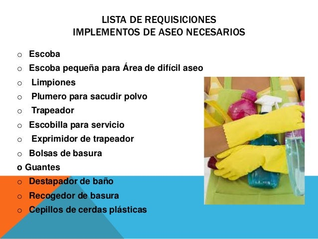 4 5 1 solicitud de suministros para el arreglo de habitaciones for Implementos para banos