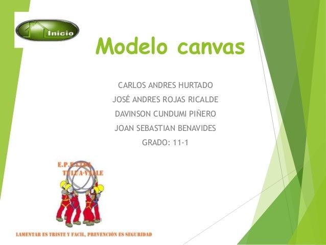 Modelo canvas  CARLOS ANDRES HURTADO  JOSÉ ANDRES ROJAS RICALDE  DAVINSON CUNDUMI PIÑERO  JOAN SEBASTIAN BENAVIDES  GRADO:...